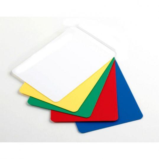 5 Cartas de corte, rojo, amarillo, blanco, azul y verde.