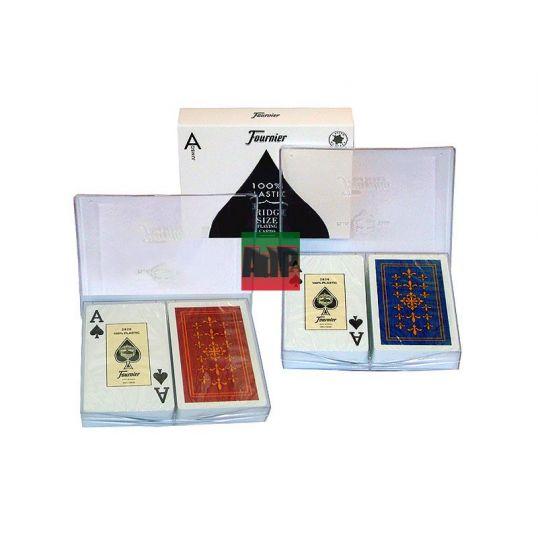 Baraja de cartas de poker Founier en 100 % plástico, índice jumbo, rojo