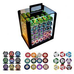 Caja acrílica personalizable con 1000 fichas Clay (varios)