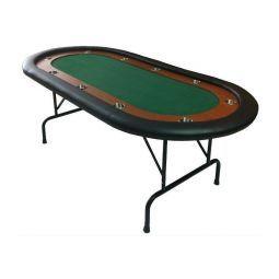 Mesa de Poker con patas plegables, verde, con posavasos