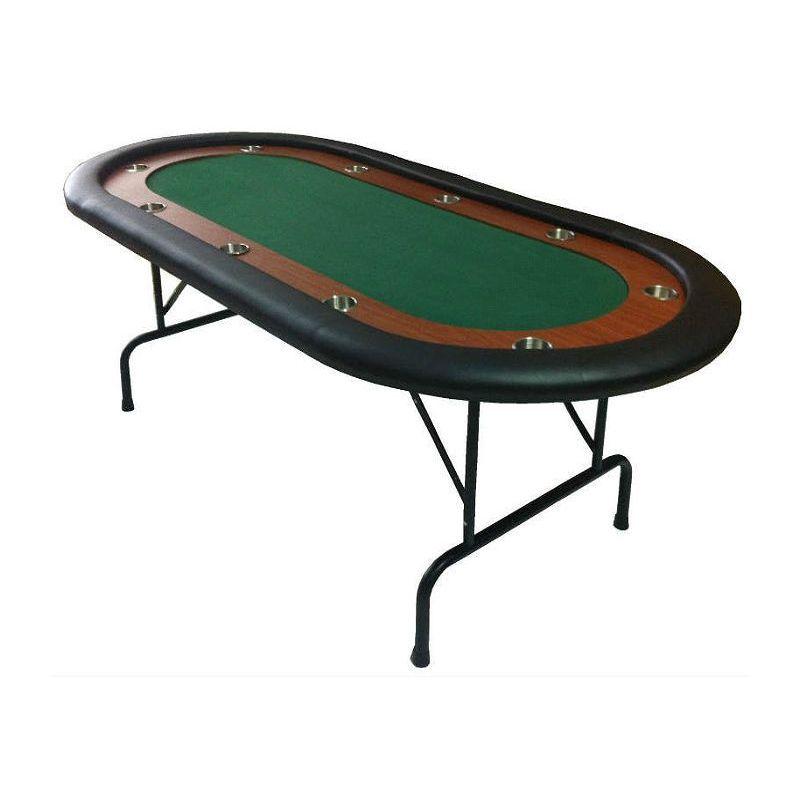 Mesa de pôquer com pernas dobráveis, verde, para 10 jogadores