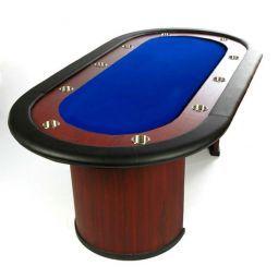 Mesa de poker fija con posavasos, tapete azul