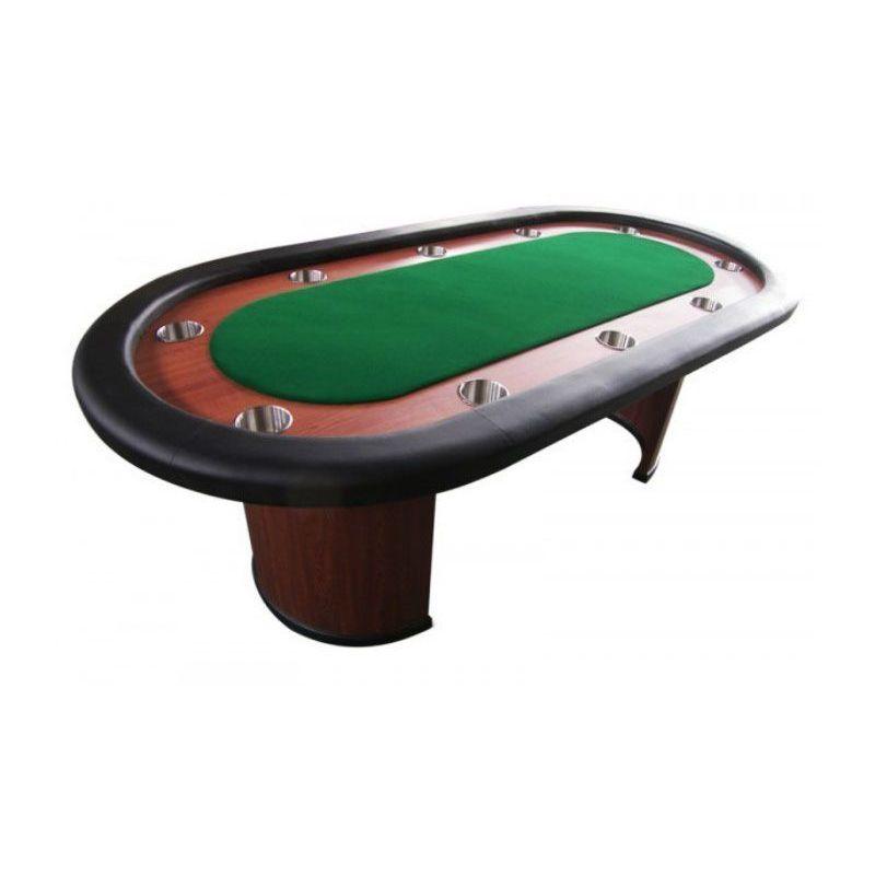 Mesa de poker fija con posavasos, tapete verde