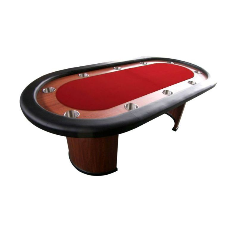 Mesa de poker fija con posavasos, tapete rojo
