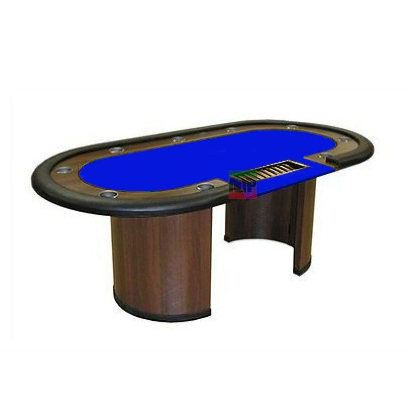 Mesa de poker fija con crupier, tapete azul