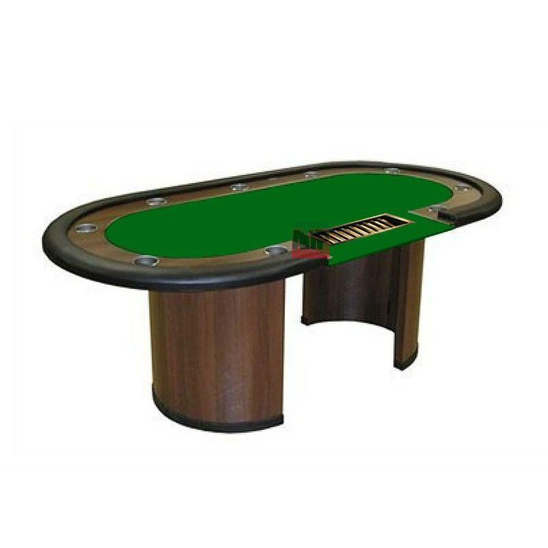 Mesa de poker fixa com crupier, tapete verde