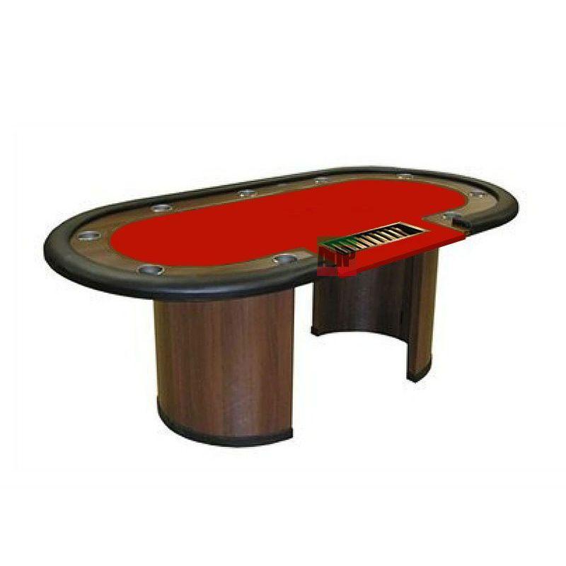 Mesa de poker fixa com crupier, tapete vermelho