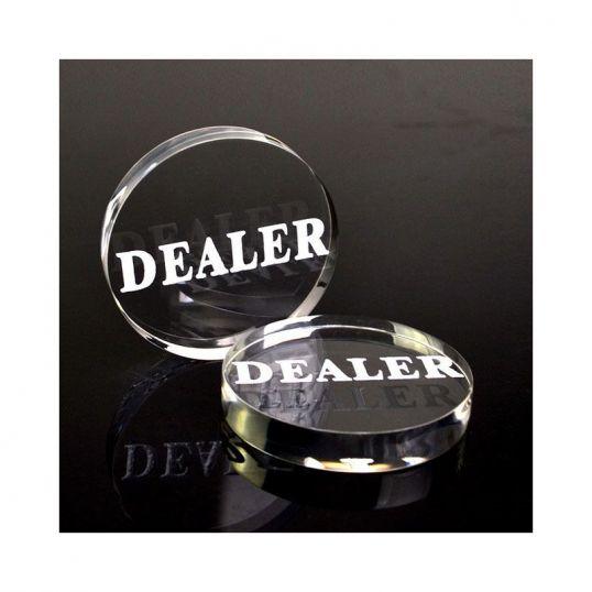 Ficha botón dealer (repartidor) acrílico transparente