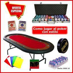 Juego de poker Lucky Chips Plus, mesa, fichas y accesorios