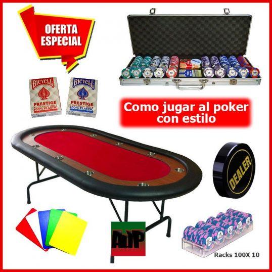 Jogo de poker Lucky Chips Plus, mesa, fichas y acessórios