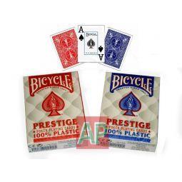 Caja de 12 barajas de poker Bicycle Prestige, plástico