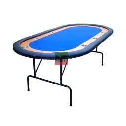 Mesa de Poker con patas plegables, azul, con posavasos