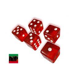 Dados de pontos vermelhos, lote 5 peças