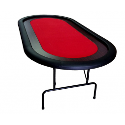 Mesa de Poker con patas plegables, roja, 10 jugadores