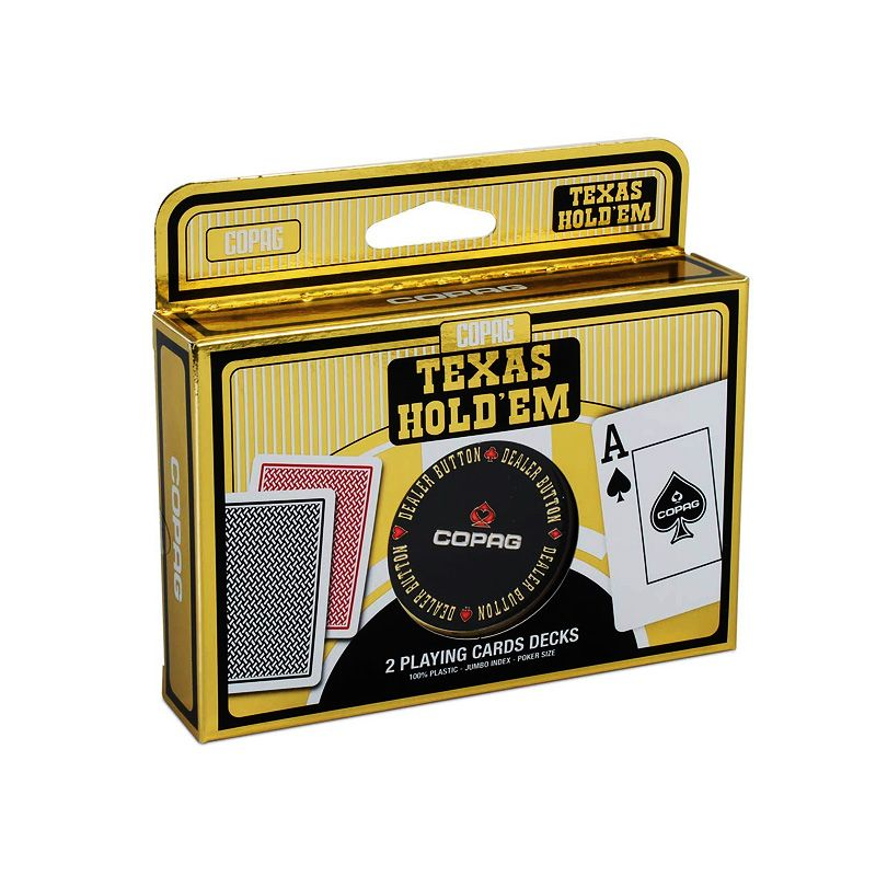 Pack de dos barajas Texas Holdem Gold de Copag y dealer