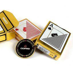 Pack de dos barajas Texas Holdem Gold de Copag y dealer de acero