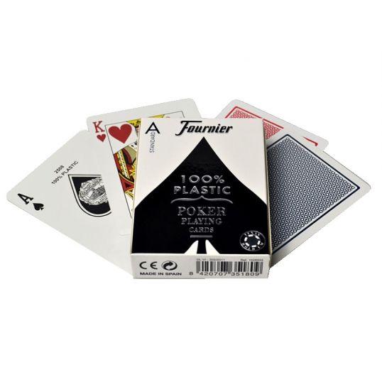 Cartas de poker Founier en 100 % plástico, índice regular, negro