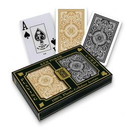 Barajas de poker Kem en plástico, Jumbo, pack de dos, dorado, negro