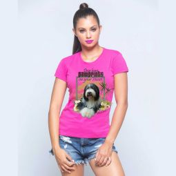 Camiseta rosa frente modelo menina perrito