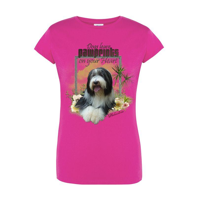 Camiseta rosa frente menina perrito