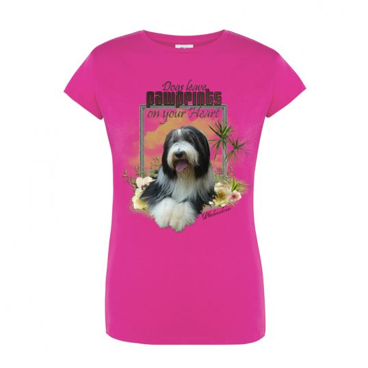 Camiseta chica rosa perrito manga corta