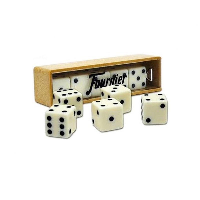 Caja con 6 dados de puntos de Fournier