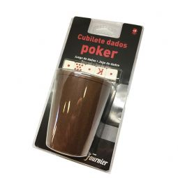 Juego de 5 dados de poker con cubilete de Fournier