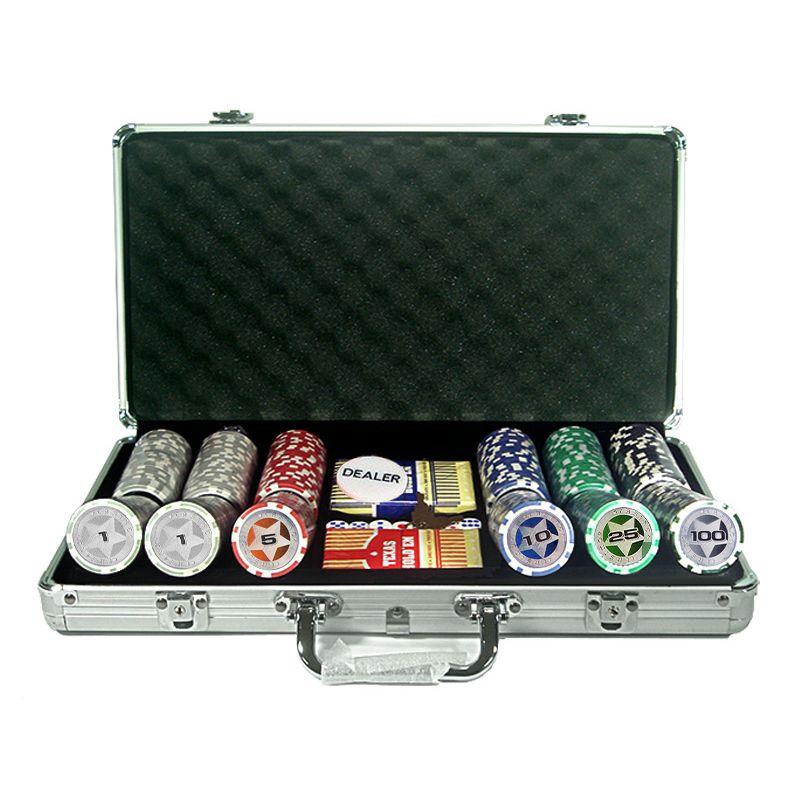 Mala customizabel de 300 fichas de poker casino chips