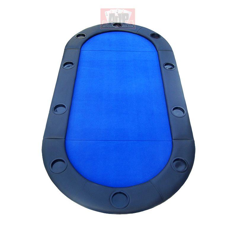 Tabuleiro de poker oval, 180 x 90 cm, cor azul.