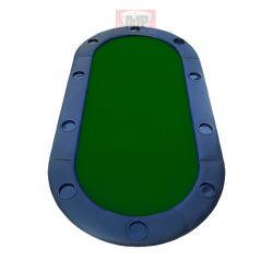 Tabuleiro de pôquer oval, 180 x 90 cm, azul, 10 jogadores