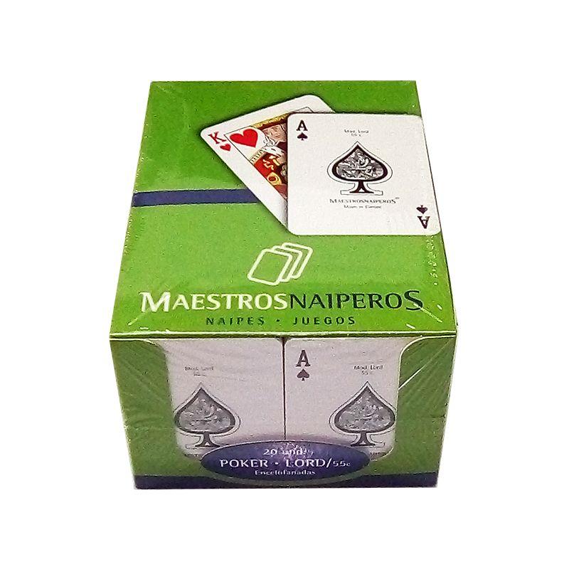 Caja de 40 Barajas de poker de Maestros Naiperos en cartulina plastificada