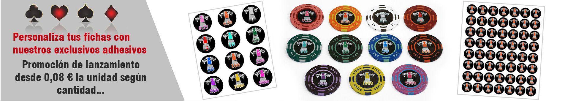Adesivos para personalização de fichas de pôquer
